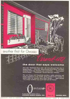 """Vintage mobile home ad -- """"The door that says 'welcome'"""""""