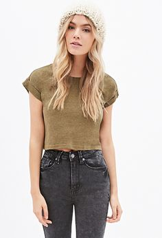 Heathered Boxy Crop Top | Forever 21 - 2000117636