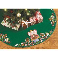 Bucilla Felt Applique Christmas Tree Skirt, Cupcake Angel
