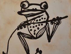 Tree Frog, 2012 John Olsen Frog Pictures, Cute Frogs, Frog And Toad, Australian Artists, Art Drawings, Drawing Art, Teaching Art, Olsen, Art Market