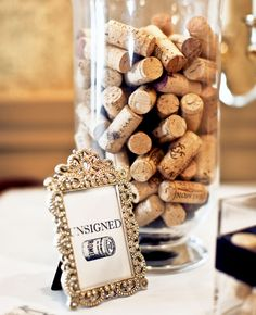 Alternative guest book idea: Signed cork collection | The Knot Blog