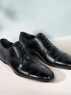 Polished leather brogues from the Burberry S/S14 men's shoe collection