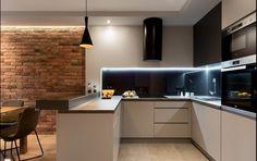 Dom w Rudzie Śląskiej - Realizacja - Duża otwarta kuchnia . Modern Kitchen Design, Interior Design Kitchen, Living Room Kitchen, Kitchen Decor, Sweet Home, Minimalist House Design, Interior Design Business, Home Room Design, Cuisines Design