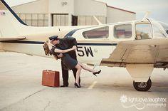 Real Atlanta Engagement Photos - Vintage Plane