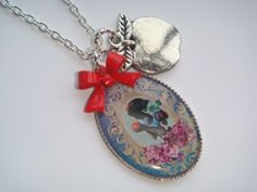 Snow White Cameo Picture Charm Apple Bow Necklace
