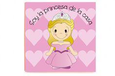 Cuadro Princesa impreso sobre madera de alta calidad sin marco y sin cristal.  Medidas: 40 x 40 x 2,3 cm.  Idiomas texto: castellano, catalán e inglés.