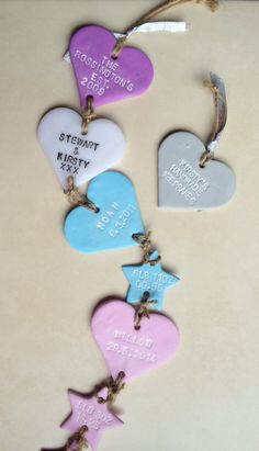 Each heart and star is handmade by me, hand stamped, painted with acrylic paint and is finished off with jute twine and ribbon, ready to