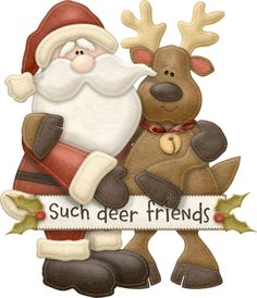 """""""Such Deer Friends"""" - María José Argüeso Christmas Wood Crafts, Christmas Deer, Christmas Signs, Christmas Pictures, All Things Christmas, Holiday Crafts, Vintage Christmas, Christmas Holidays, Christmas Decorations"""