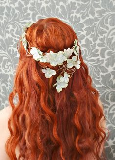 floral wreath flower crown mermaid circlet by gardensofwhimsy, $70.00
