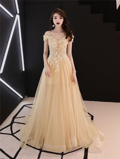 Celebrity yellow lace tulle v-neck short sleeve party prom dress, simple slim fairy evening dress shopping online