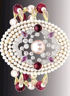 "Chanel Secret's ~ D'Orient collection ""Byzance"" bracelet in 18k pink gold, rebelites, pink sapphires and cultured pearls"