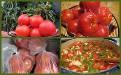 Freezing tomatoes - wash 'em, put 'em in a plastic bag, then toss 'em in the freezer.  When you're ready for them, throw them in a sink with hot water.  They will peel easily.