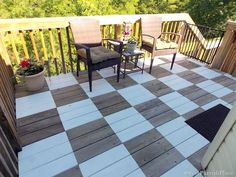 Paint a fabulous patio checkerboard floor - by Sweet Parrish Place, featured on I Love That Junk