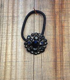 Vintage Black Rhinestone Button Embellished Elastic Hair Tie #black  #rhinestone #vintagebutton #hairtie #buttonitupvintage