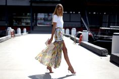Floral prints kept sophisticated with slits up to there and modern blouses