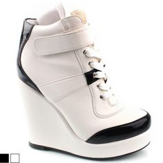 SHOESONE Womens Korean 2ne1 High top White Wedge platform Heel Sneakers Shoes
