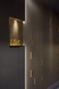 Hotel Hallway, Hotel Corridor, Hotel Door, Hotel Signage, Door Signage, Wayfinding Signage, Boutique Spa, Rosewood Hotel, Hotel Room Design