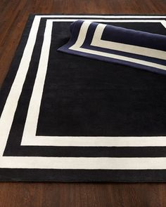 Navy White crisp living room or dining room rug  Fitzgerald Border Rug by Ralph Lauren at Horchow.