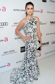 Nina Dobrev Oscar party 2013, played Elena Gilbert & Katherine Pierce in The Vampire Diaries