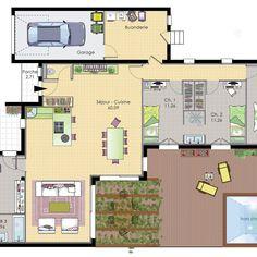 Plan maison meublé - Maison de plain-pied 6