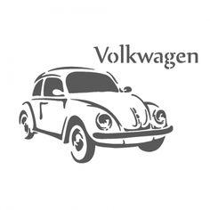 1955 Volkswagen Beetle Stencil Vintage Classic Car Reusable Template - J… Wood Burning Stencils, Wood Burning Patterns, Kombi Hippie, Beetle Drawing, Truck Coloring Pages, Beetle Convertible, Beetle Car, Arte Horror, Silhouette Portrait