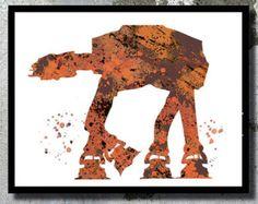 Star Wars Aquarell Kunst Drucken Star Wars Poster At At Walker Drucken Star Wars Dekor Star Wars Kinderzimmer junge Zimmer Film Poster Star Wars Geschenk