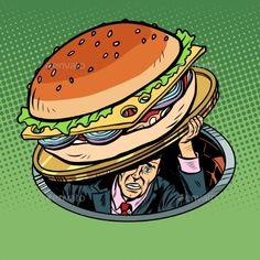 Buy Man Under Fast Food Burger by studiostoks on GraphicRiver. man under fast food burger. Pop Art Food, Desenho Pop Art, Vintage Pop Art, Retro Illustration, Food Drawing, Cartoon Images, Skull Art, Alter, Comic Art