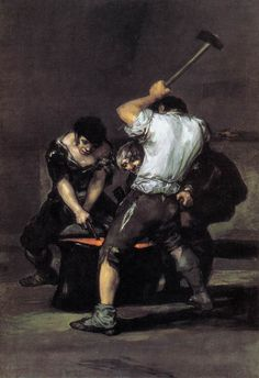 Francisco de GOYA Y LUCIENTES   [Spanish Rococo Era/Romantic Painter and Printmaker, 1746-1828]  The Forgec. 1819