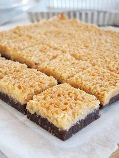 Kladdkaka med kokostosca | erikasfikastund Brownie Recipe Without Chocolate, Brownie Recipes, Cake Recipes, Dessert Recipes, Cafe Food, Food Cakes, Snacks, No Bake Desserts, Coco