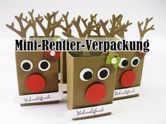 Mini-Rentier-Verpackung für Ritter Sport Schokowürfel (Stampin'UP!) Weihnachten 2017 - YouTube