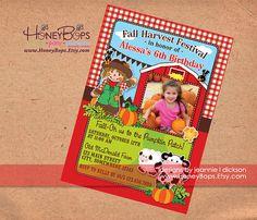 Red Barn Pumpkin Farm Invitation with Photo Birthday by HoneyBops, $16.95 #red #pumpkin #fall #autumn #animals #petting #zoo #patch #barnyard #barn #birthday #baby #shower #invite #invitation #custom #printable #announcement #party #festival #DIY #event #digital