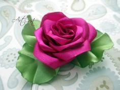 Роза канзаши из атласных лент своими руками! - YouTube