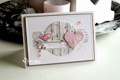Stampin' Up! ... handmade birthday card from Made by Sandra: It's your birthday! ... like the die cut circle with hardwood wood grain stamping ... pink heart and cute little bird ... like it!