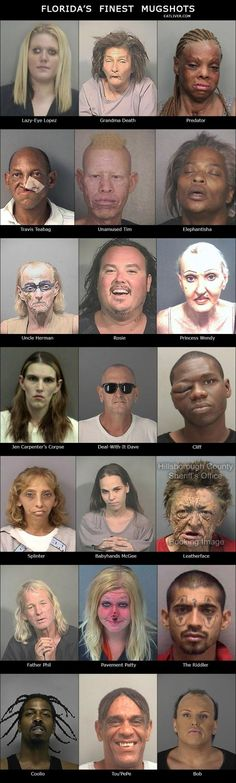 So wrong.but so funny! Florida's Finest Mugshots - Seriously, For Real? ~ yes for real. These people do exist! Funny Cute, Haha Funny, Funny Memes, Hilarious, Funny Stuff, Funny Things, Bad Memes, Stupid Stuff, Useful Life Hacks