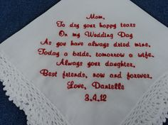 Personalized Mother  from the Bride Custom by InspiredStitches, $23.00