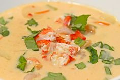 The sweet crab goes perfectly with the flavorful broth. The coconut milk mixed with the peanut butter and spicy chili paste is so good.