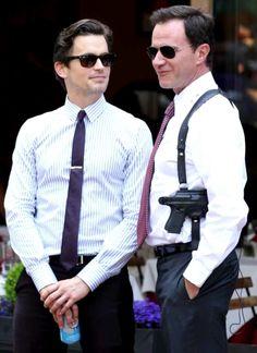 Matt and Tim on the set of White Collar