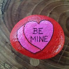 Be mine heart valentine painted rock Heart Painting, Pebble Painting, Love Painting, Pebble Art, Shell Painting, Painted Rocks For Sale, Painted Rocks Craft, Painted Stones, Painted Pebbles