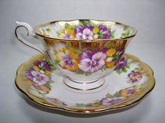 Royal Albert Tea Cup and Saucer, Royal Albert Pansies Tea Set, Royal Albert Fine Bone China, Royal Albert Purple Yellow & Gold Tea Set