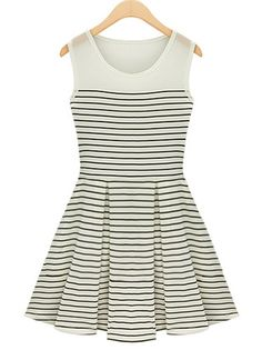 Black and White Pinstripes Contrast Chiffon Top Dress
