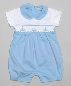 Look what I found on #zulily! Blue & White Sailboat Romper - Infant by Hug Me First #zulilyfinds