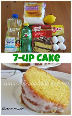7Up Cake Recipe ~ Says: This cake is so sunshine-y and the flavors remind you of a tall glass of cold lemonade