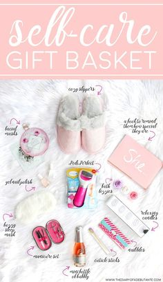 """Cute and thoughtful gift basket idea for anyone who needs more """"me time!"""" How to create your own DIY spa gift basket plus 12 self care gift ideas to consider including (featuring the Amope Pedi Perfect Foot File) DIY Spa Gift Basket: 12 Self-Care Gift I Gift Baskets For Women, Diy Gift Baskets, Gift Basket Ideas, Gift Ideas For Women, New Mom Gift Basket, Homemade Gift Baskets, Gift Basket For Teacher, Good Gift Ideas, Present Ideas"""