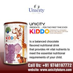 Unicity Kiddo is a balanced chocolate flavored nutritional drink that provides 44 vital nutrients to meet the essential nutritional requirements of your child. To know more about us please click @ www.unicityfuture.com