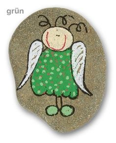 Guardian angel with your desired name - hand-painted stone - UNIKAT lucky charm - Painting Pebble Painting, Dot Painting, Painting For Kids, Pebble Art, Stone Painting, Painted Rocks Craft, Hand Painted Rocks, Rock Hand, Rock Painting Designs