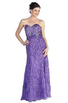 Gorgeous Sheath Strapless Long Purple Chiffon Beaded Prom Dress