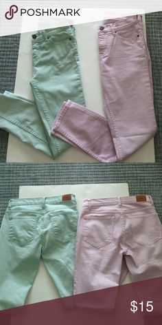 "Bundle of BDG Jeans Details: Lilac --Called ""Mid-Rise Twig Grazer, Classic five-pocket design, Straight leg. Material:  78% Cotton, 20 Poly, 2% Spandex; Size:  27.  Measurements:  14.5"" @ the waist,  26.5""  Inseam Sage Green  -- Called ""Mid-Rise Twig Grazer, Classic five-pocket design, Straight leg. Material:  78% Cotton, 20 Poly, 2% Spandex; Size:  26.  Measurements:  14"" @ the waist,  26""  Inseam Worn very little Together = $15 Separate = $10 ea. BDG Jeans Straight Leg"
