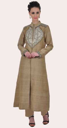 Beige Pure Raw Silk Antique Tilla Kashmiri Kashida Jacket Suit