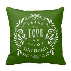 Peace Love & Joy | Holiday Throw Pillow - Zazzle