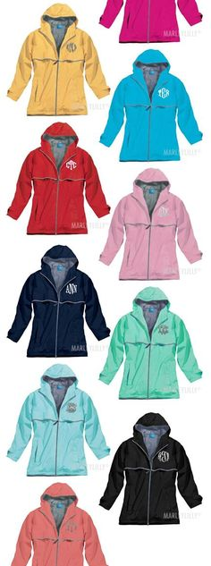 Monogrammed New England Rain Jacket from Marleylilly.com
